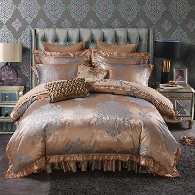 加棉提花贡缎全棉床裙四件套 纯棉婚庆床盖六件套 1.5m(5英尺)床 塞浦路斯