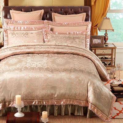 加棉提花贡缎全棉床裙四件套 纯棉婚庆床盖六件套 1.5m(5英尺)床 盛世宫廷