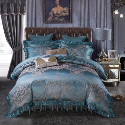 加棉提花贡缎全棉床裙四件套 纯棉婚庆床盖六件套 1.5m(5英尺)床 伊利亚