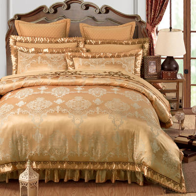 加棉提花贡缎全棉床裙四件套 纯棉婚庆床盖六件套 1.5m(5英尺)床 至尊时尚