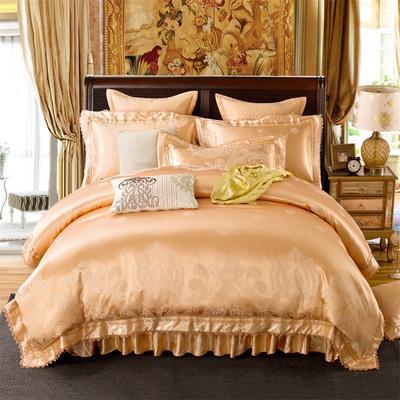 加棉提花贡缎全棉床裙四件套 纯棉婚庆床盖六件套 2.0m(6.6英尺)床 夹棉单人枕套74*48cm/对