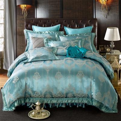 加棉提花贡缎全棉床裙四件套 纯棉婚庆床盖六件套 2.0m(6.6英尺)床 夹棉靠垫套60*60cm/对
