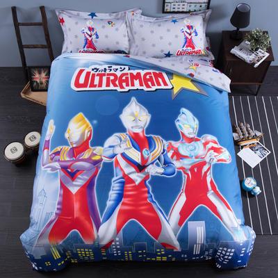 2018专版13376全棉大版卡通四件套纯棉儿童三件套 床单款三件套1.2m(4英尺)床 奥特曼