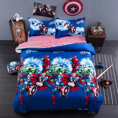 2018专版13376全棉大版卡通四件套纯棉儿童三件套 床单款三件套1.2m(4英尺)床 漫威