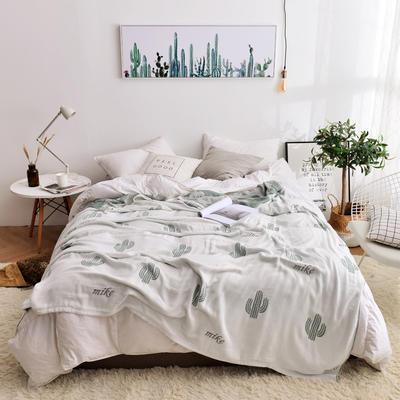 2019新款-竹纤维空调毯夏被 150x200cm/条 仙人掌白