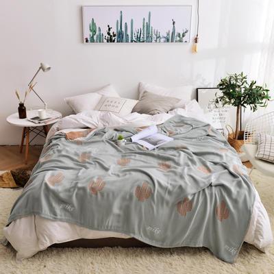 2019新款-竹纤维空调毯夏被 150x200cm/条 仙人掌-绿