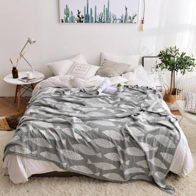 2019新款-竹纤维空调毯夏被 150x200cm/条 鱼趣-灰