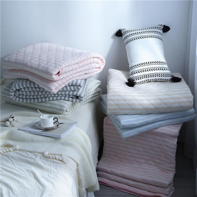2019新款-全棉针织棉天竺棉夏被空调盖被薄被 180x200cm 条格蓝