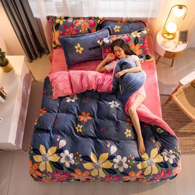 2019新品金貂绒水晶绒保暖牛奶绒云貂绒四件套 第一批花型 床单款1.8m(6英尺)床 爱的花海