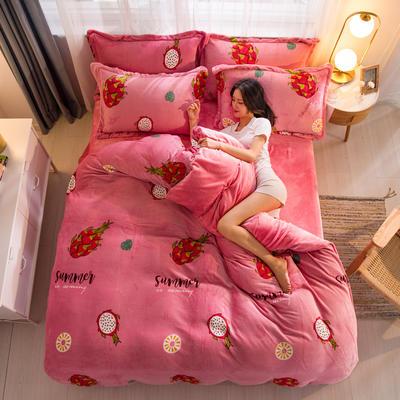 2019新品金貂绒水晶绒保暖牛奶绒云貂绒四件套 第一批花型 床单款1.8m(6英尺)床 火龙果