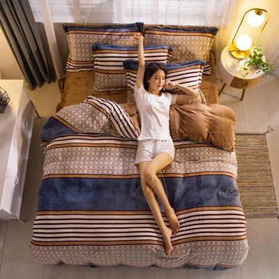 2019新品金貂绒水晶绒保暖牛奶绒云貂绒四件套 第一批花型 床单款1.8m(6英尺)床 暖暖阳光