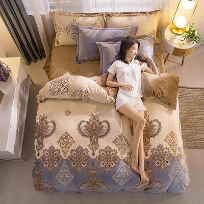 2019新品金貂绒水晶绒保暖牛奶绒云貂绒四件套 第一批花型 床单款1.8m(6英尺)床 欧式风范