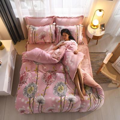 2019新品金貂绒水晶绒保暖牛奶绒云貂绒四件套 第一批花型 床单款1.8m(6英尺)床 蒲公英的约定-粉