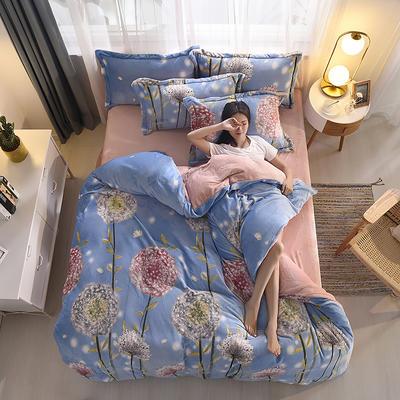 2019新品金貂绒水晶绒保暖牛奶绒云貂绒四件套 第一批花型 床单款1.8m(6英尺)床 蒲公英的约定-蓝