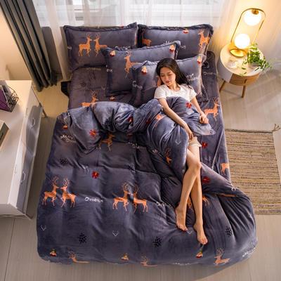 2019新品金貂绒水晶绒保暖牛奶绒云貂绒四件套 第一批花型 床单款1.8m(6英尺)床 圣诞吉鹿