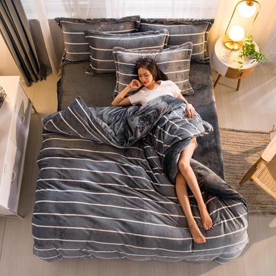 2019新品金貂绒水晶绒保暖牛奶绒云貂绒四件套 第一批花型 床单款1.2m(4英尺)床 条纹生活-灰