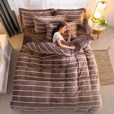 2019新品金貂绒水晶绒保暖牛奶绒云貂绒四件套 第一批花型 床单款1.2m(4英尺)床 条纹生活-咖