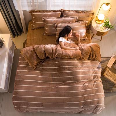 2019新品金貂绒水晶绒保暖牛奶绒云貂绒四件套 第一批花型 床单款1.8m(6英尺)床 条纹生活-驼