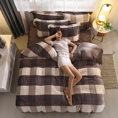 2019新品 金貂绒保暖四件套云貂绒水晶绒牛奶绒法莱绒 标准(1.8m床) 裸婚时代-咖
