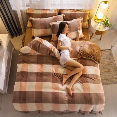 2019新品 金貂绒保暖四件套云貂绒水晶绒牛奶绒法莱绒 标准(1.8m床) 裸婚时代-驼