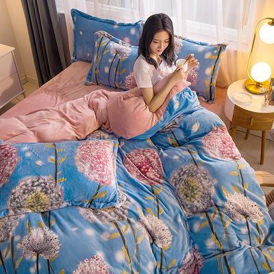 2019新品 金貂绒保暖四件套云貂绒水晶绒牛奶绒法莱绒 标准(1.8m床) 蒲公英的约定-蓝