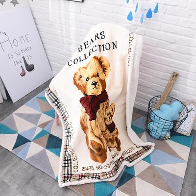 2017爆款大版羊羔绒童毯 100*140cm 格子熊