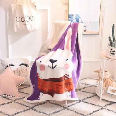 2018新款版权爆款童毯 95*140cm 紫兔(羊羔绒版)