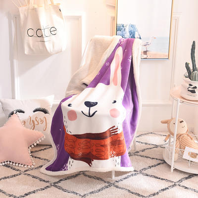 2018新款爆款羊羔绒童毯 95*140cm 紫兔