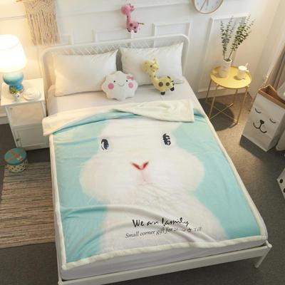 2018新款ins网红羊羔绒毯 70*100cm 水粉兔