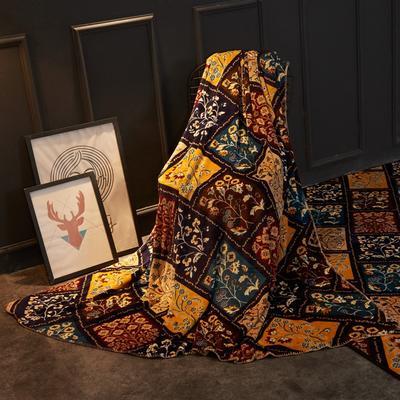 2018新款法兰绒复古简约毛毯 200*230cm 花窗