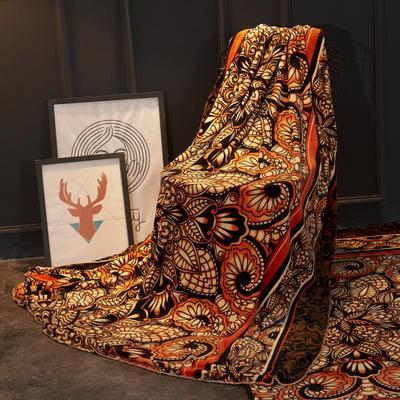 2018新款法兰绒复古简约毛毯 200*230cm 金色海岸