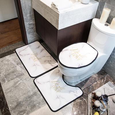 2019新款网销款卫浴三件套地垫 门垫:50*75cm 白金大理石