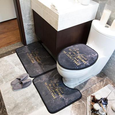 2019新款网销款卫浴三件套地垫 门垫:50*75cm 黑金大理石