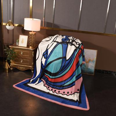 2020新款锦狐绒奢华毯 150cmx150cm毯子 马头蓝