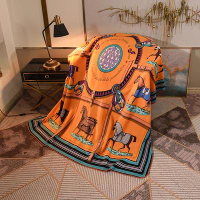 2020新款锦狐绒奢华毯 150cmx150cm毯子 十骏马黄