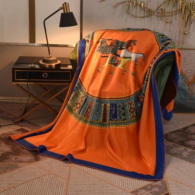 2020新款锦狐绒奢华毯 150cmx150cm毯子 苏绣马