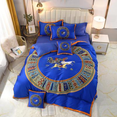 60S埃及活性大版数码印花长绒棉四件套六件套 1.5m床单款四件套 宝蓝