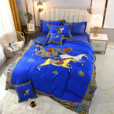 60S埃及活性大版数码印花长绒棉四件套六件套 1.5m床单款四件套 贵族蓝