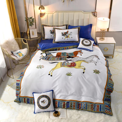 60S埃及活性大版数码印花长绒棉四件套六件套 1.5m床单款四件套 玲珑白
