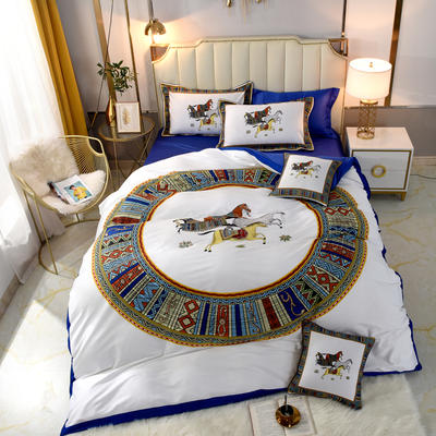 60S埃及活性大版数码印花长绒棉四件套六件套 1.5m床单款四件套 陶瓷白