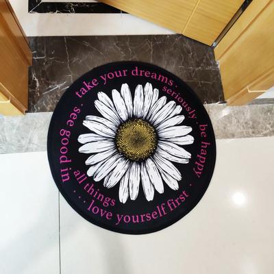 2020新款-加厚防滑底圆形地垫地毯中美式复古奢华风格 直径100cm 雏菊儿