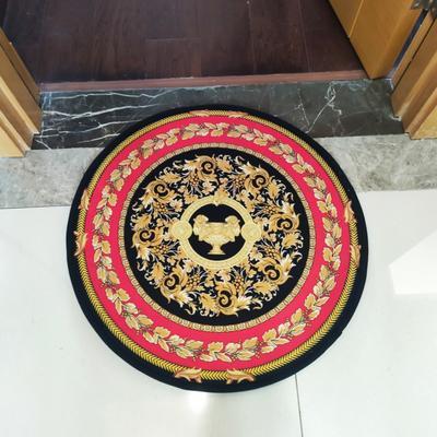 2020新款-加厚防滑底圆形地垫地毯中美式复古奢华风格 直径100cm 红色圣杯