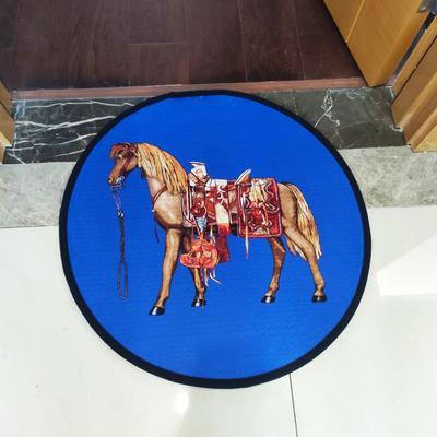 2020新款-加厚防滑底圆形地垫地毯中美式复古奢华风格 直径100cm 蓝马