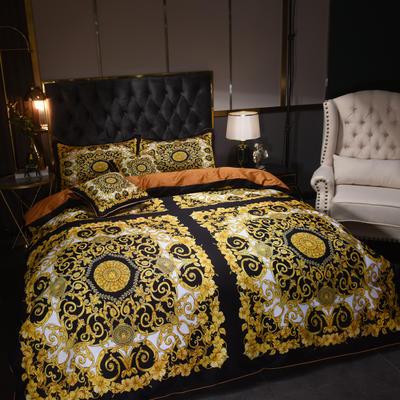 60S埃及活性大版数码印花长绒棉四件套六件套 1.5m床单款四件套 金色盛典