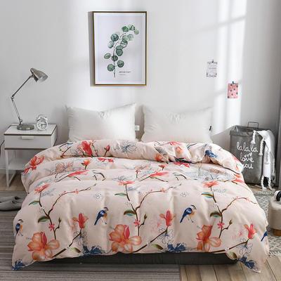 2019新品-斜纹活性磨毛单被套植物羊绒澳棉化纤磨毛被套 150x200cm 鸟语清晨
