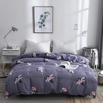 2019新品-斜纹活性磨毛单被套植物羊绒澳棉化纤磨毛被套 150x200cm 嫣语花香