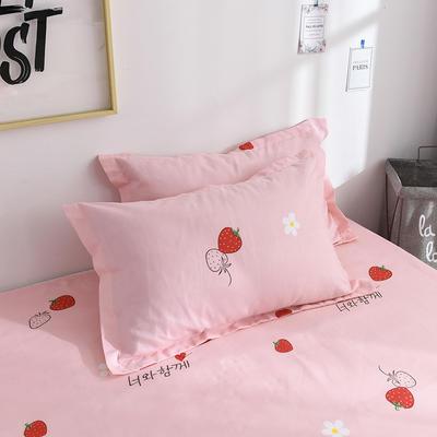 2019新品-斜纹活性磨毛单枕套 植物羊绒澳棉磨毛枕套暖阳棉 48cmX74cm / 一对 草莓园