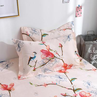 2019新品-斜纹活性磨毛单枕套 植物羊绒澳棉化纤磨毛枕套 48cmX74cm / 对 鸟语清晨