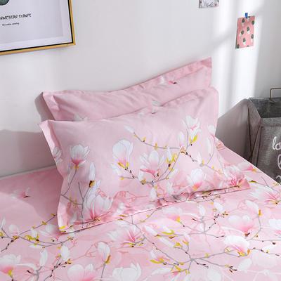 2019新品-斜纹活性磨毛单枕套 植物羊绒澳棉化纤磨毛枕套 48cmX74cm / 对 清丽花香