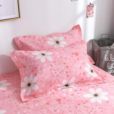 2019新品-斜纹活性磨毛单枕套 植物羊绒澳棉化纤磨毛枕套 48cmX74cm / 对 夏花绽放